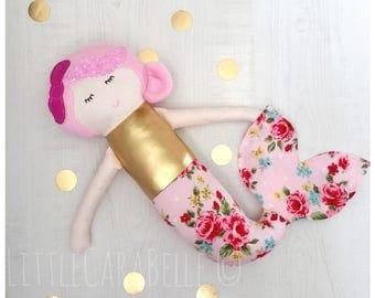 Mermaid MerDolly Custom Handmade Rag Doll, Dolly, Softie, Doll. Perfect for playtime Ce tested