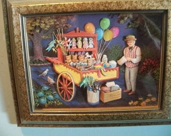 K   Chin  paper tole travelling man  circus fair wagon