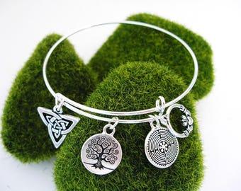 Silver BANGLE CELTIC Tree of Life IRISH Claddagh Trinity Knot Charm Bracelet-Ireland Jewelry