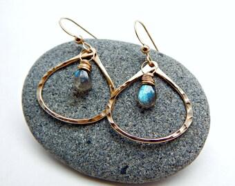 universal energy. labradorite and 14k gold fill hoops. flashy blue labradorite. protective gemstone. yoga earrings. chakra jewelry. gift.