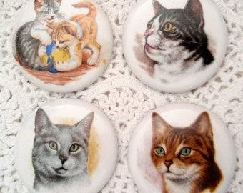 4 Older Studio Buttons Cats Cat Kittens Kitties Tabby Gray Black White Ceramic