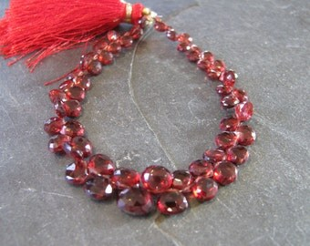 Garnet briolettes, faceted heart briolettes, full 7 inch strand, 4-7mm (w20)