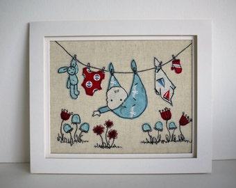New Baby Handmade Appliqué Washing Line Framed Textile Art A4