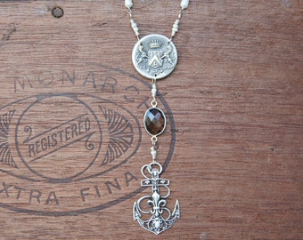 Antique Assemblage Necklace with Fleur de Lys Anchor Pendant, Pearls and Iolite Gemstones