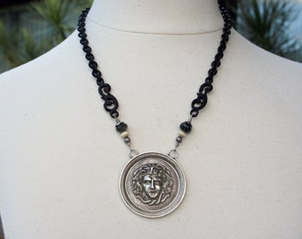 Antique Assemblage Medusa Gorgon Necklace with Gutta Percha Chain Moss aquamarine and mother of pearl