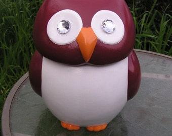 Jeweled Eye Burgundy Owl Cookie Jar