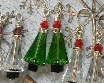 Modern Christmas Tree Earrings. Classy, Not Tacky. You Choose Ear Wire and Color