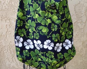 Tote bag, shoulder bag, large purse, repurposed, Hawaiian, green