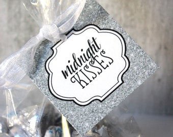 Midnight Kisses Tag, SILVER, DIY, Printable, Instant Download