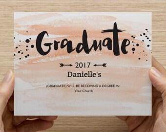 "4"" x 6"" Flat 2-Sided Invitation Graduation Pink Blue Brush Stroke Design Custom Personalized Quantities 10-250"