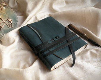 personalized leather journal, custom monogram, teal leather journal, vintage style paper, turquoise travel notebook