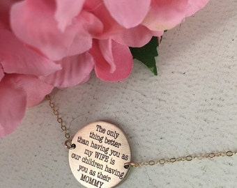 14% off Valentines Sale- Gold personalized mother necklace - The only thing better wife necklace - Sterling Silver or Gold-filled option - W