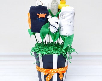 Crab Baby Shower, Nautical Baby Shower Gift, Boy Baby Gift, Navy and Orange Baby Shower, Baby Gift Baskets, Friend Baby Gift, Baby Clothes
