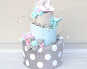 Elephant Baby Shower Decor, Pink Aqua Gray Baby Shower, Elephant Nursery, Elephant Shower Centerpieces, Elephant Decorations, Baby Gift
