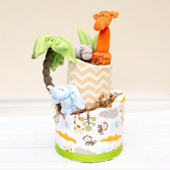 Safari Shower Decorations, Jungle Shower Cake, Safari Diaper Cake, Neutral Safari Baby Shower, Topsy Turvy Diaper Cake, Giraffe, Hippo