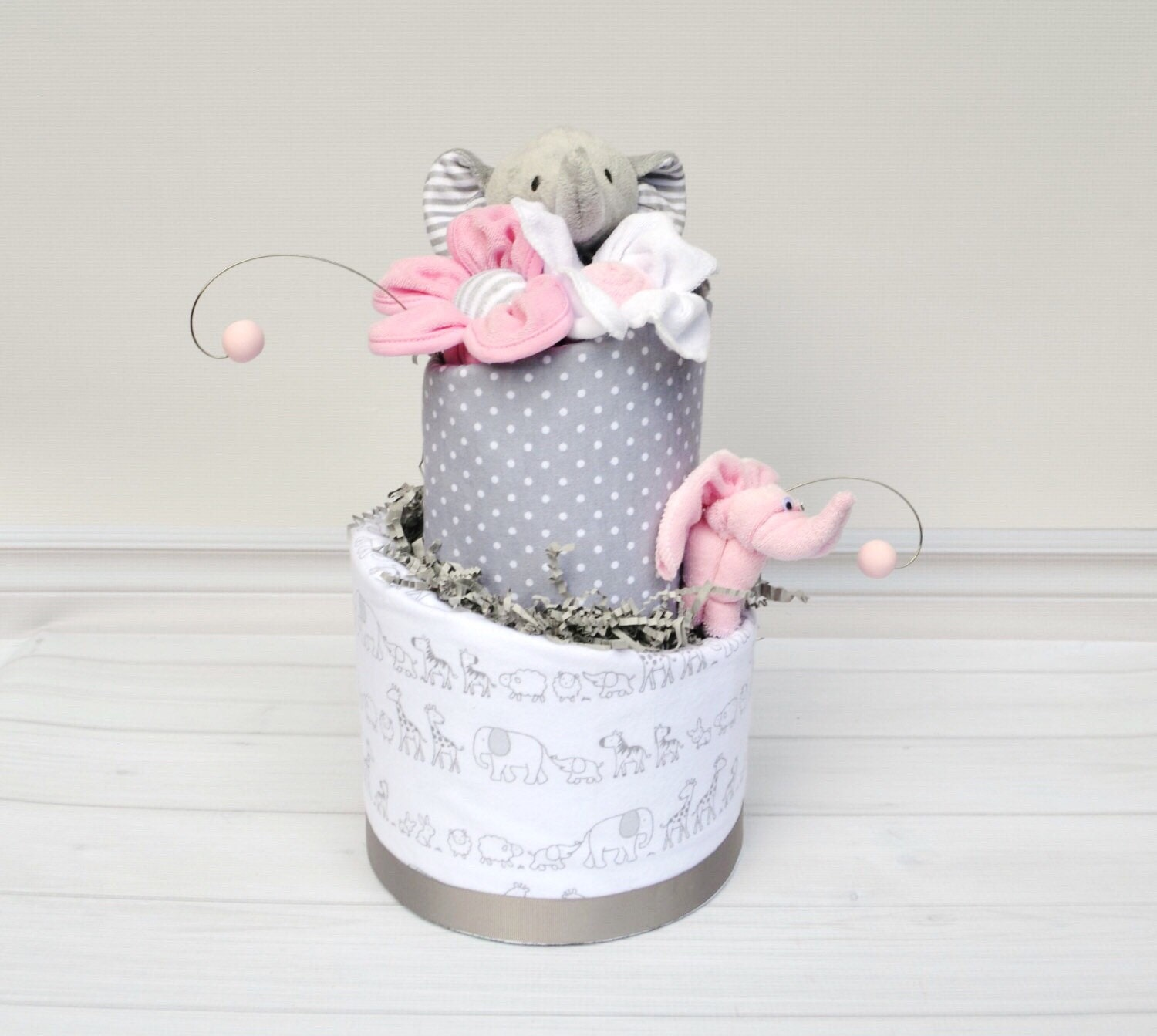 Pink And Gray Elephant Baby Shower Decorations: Pink Elephant Baby Shower Elephant Diaper Cake Elephant