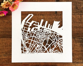 Auckland, Sydney, or Cape Town, South Africa hand cut map, 10x10