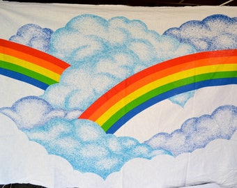 Vintage Fabric - Rainbows and Clouds - Graphic Screen Print 1979