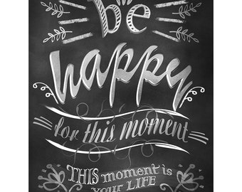 Be Happy Motivational Chalk Board Print, Black White Artwork Poster,Home Decoration Art, Quote Art,Inspirational Poster,Illustration Drawing