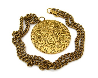 ALVA MUSEUM REPLICAS Cupid Renaissance Revival Necklace • Ornate Pendant Chunky Chain • Vintage Costume Jewelry