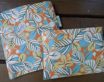 Reusable sandwich bag - Reusable snack bag - Fabric sandwich and/or snack bags set -  Eco lunch bags - Leaves