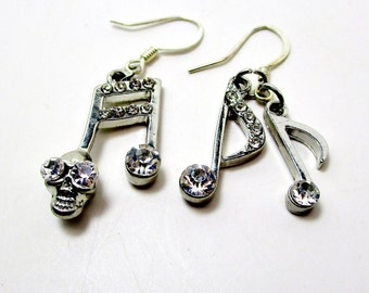 Vintage Music Notes An Skull Rhinestone Earrings Whimsical Silver Goth Steampunk Musician Hipster Biker Hip Hop Runway Statement