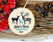 Baby's First Christmas Ornament - Modern Christmas Ornament - Pregnancy Reveal - Personalized Ornament - XMAS001