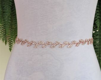 Rose Gold Leaf Crystal Rhinestone Bridal Sash,Wedding sash,Bridal Accessories,Bridal Belt,Style #25