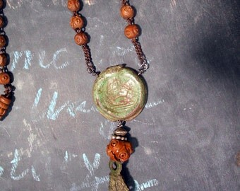 Hold Back Time Antique Rosary Assemblage Necklace
