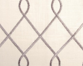 Duralee 73023-15 RICO, GREY, gray and ivory, designer curtain panels, drapes Duralee embroidered drapes