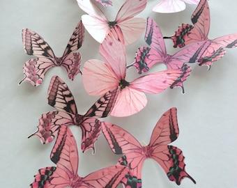 NURSERY DECORATION - 3D pink blush decorative butterflies - wall decoration - butterflies wall art - decorative butterfly - Uniqdots on Etsy