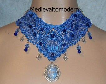 Blue Swirl Cameo Victorian Venise Collar Choker OOAK