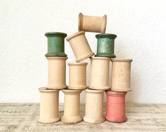 Vintage Wooden Spools, Set of 12