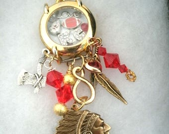 Repurposed Kansas City Watch Crystal Necklace with glass beads and Chiefs Head and Rhinetone letters KC