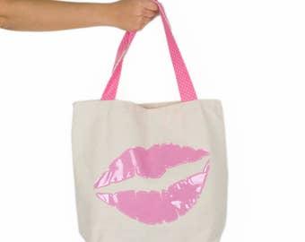 Linen Beach Bag Canvas Tote Bag Pink Market Bag Cotton Tote Bag Summer Vinyl Bag Lips Kiss Shoulder Bag