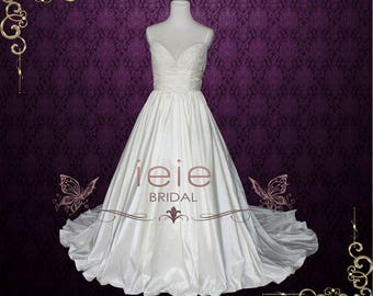 Empire Wedding Dress with Thin Straps V neck Lace Wedding Dress