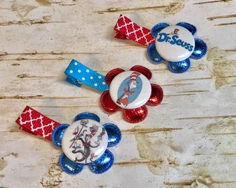 Cat in The Hat Hair Clip Set, little girls Dr. Seuss non slip clip boutique clippies, Red Blue Flowers First Birthday Baby Stocking Stuffer