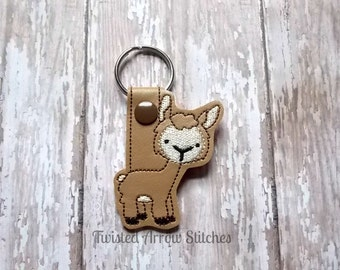 Alpaca Key Chain, Llama Key Fob, Brown