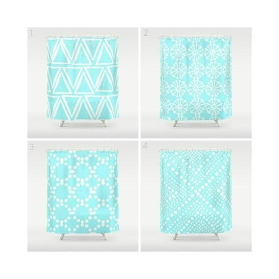 Bahama Blue Shower Curtain - Geometric Shower Curtain - Modern Shower Curtain - Shower Curtain - Triangle Shower Curtain - Aqua and White