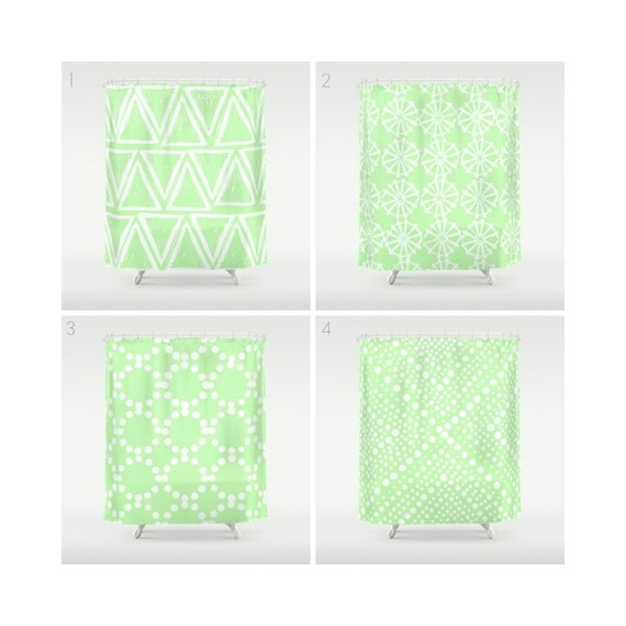 Mint Green Shower Curtain - Geometric Shower Curtain - Modern Shower Curtain - Shower Curtain - Triangle Shower Curtain - Mint and White