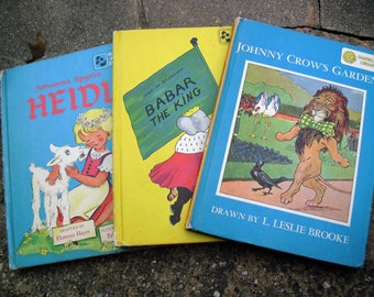 Vintage Dandelion Library Books Grimm's Fairy Tales/Babar The King Andersen's Fairy Tales/Johnny Crow's Garden The Story of Babar/Heidi