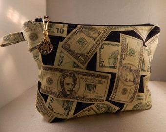 Money Print Black Green Coin Charm Makeup Bag Cosmetic Travel Bag Organizer Bag Cute