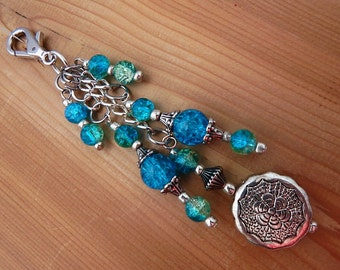 Purse Zipper Charm Beaded Turquoise Colored Work Lanyard Handbag Identification tag key ring