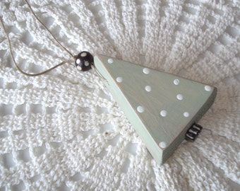 Rustic Wooden Christmas Tree Ornament in Sage Green, Polka Dot Christmas Tree Ornament, Cute Christmas Decor - CO004