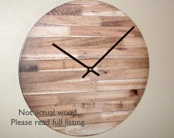 12 Inch Rustic Wall Clock SILENT, Unique Rustic Home Decor, Hickory Wood Image Clock (NOT real wood) - 2157