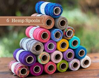 Hemp Cord,  6 Spools, 1mm Bead Cord,  Colored Hemp  Twine,   Choose The Colors, Bulk Hemp Cord