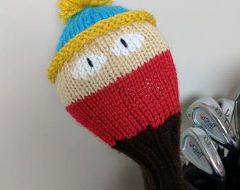 Cartman, South Park, Golf club cover, golf headcover, golf club headcover, golf head cover, unique golf gifts, driver cover, gifts for men