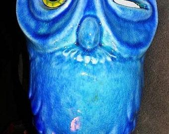 Haeger Turquoise Owl Bank - Winking