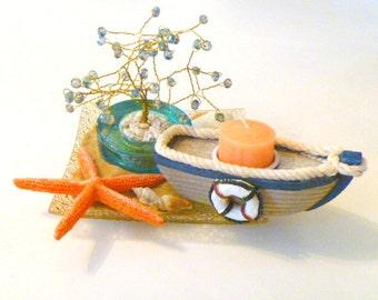 Aqua Beaded Bonsai Tree Wire Wrapped Sculpture w Boat Candle Nautical Theme Centerpiece Housewarming Gift