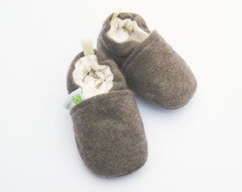 Cashmere Wool in Soil / All fabric Soft Sole Baby Shoes / Made to Order / Babies